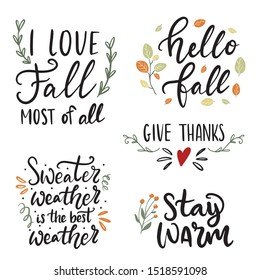 Set of hand drawn lettering fall, autumn and Thanksgiving quotes and pharses for cards, banners, posters design. Warm wishes, fall i love you, give thanks, be grateful, sweater weather