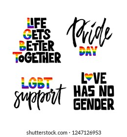 Set hand drawn lettering phrase with rainbow letter. LGBT concept. For poster, flyer, card, web design. Vector illustration isolated on white background.