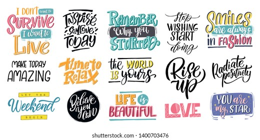 Set hand drawn lettering phrase, vector printable design, pink trendy background, trendy phrase for t-shirts, decorations, motivational greeting cards.