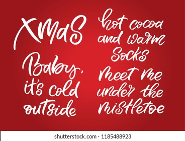 Set of hand drawn lettering phrases. Christmas postcard. Perfect design for greeting cards, posters, T-shirts, banners, print invitations.