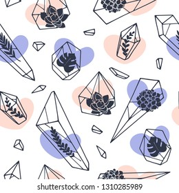 Set of hand drawn line art Minerals, crystals, gems with leaves, succulents inside. Magical elements seamless pattern. Perfect for fabric. Wrapping paper texture.