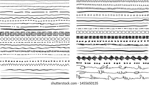 Set of hand drawn line borders, sketch strokes, scribbles and design elements isolated on white background. Doodle style brushes. Monochrome vector illustration.