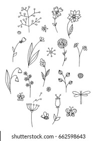 Set of hand drawn lines illustration. Flowers and Butterflies. Black and White. Vector.