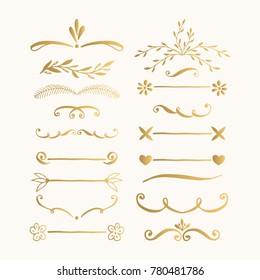 Set of hand drawn lines and text dividers. Vector. Isolated.