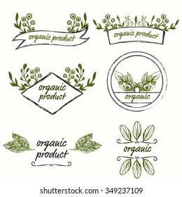 Set of hand drawn logo templates for organic, bio, farmers product design