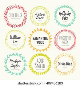 Set of hand drawn logo templates. Vector set of scribble circles. Sketched style. Decorative round frames for your design.