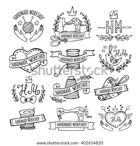 Set Hand Drawn Logos Sewing Workshop Stock Vector (Royalty ...