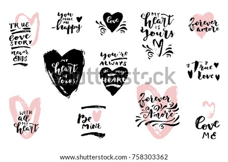 set hand drawn love quotes hearts stock vector royalty free