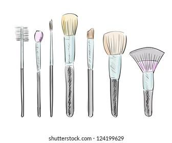 Set of hand drawn makeup brushes