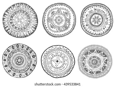 Set of hand drawn mandalas. Can be used for coloring books, tattoo, mehendi and others.