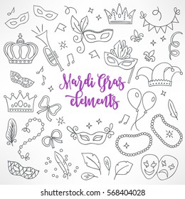Set of hand drawn Mardi Gras design elements - carnival mask, trumpet, crown, ribbon, feathers, confetti, masks, notes, balloon, harlequin, beads, garland, jester hat. Perfect for coloring books