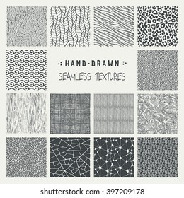Set of hand drawn marker and ink seamless patterns. Simple vector scratchy textures with dots, strokes and doodles.