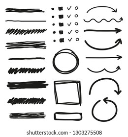 Set of hand drawn markers, arrows, pointers and frames isolated on white background.