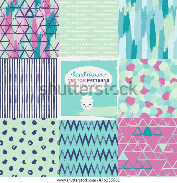 Set Hand Drawn Matching Patterns Turquoise Stock Vector Royalty Free 476135581