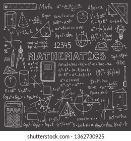 Set with hand drawn mathematics formules and other elemets. Science collection. Vector doolle illustration
