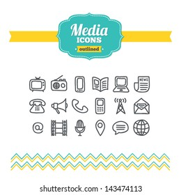 Set of hand drawn media icons