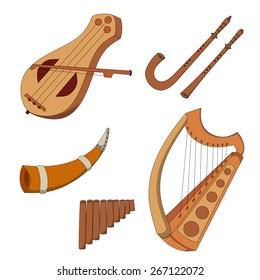 Set of hand drawn medieval musical instruments. Fiddle, harp. horn, pan flute, crumhorn, rauschpfeife.