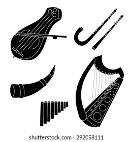 Set of hand drawn medieval musical instruments. Fiddle, harp. horn, pan flute, crumhorn, rauschpfeife. Black silhouettes technique drawing.