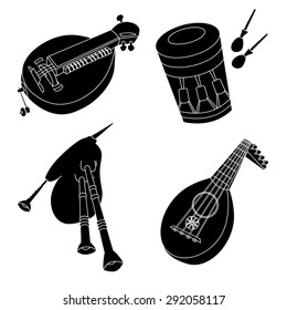 Set of hand drawn medieval musical instruments. Lute, bagpipe, hurdy-gurdy, drum. Black silhouettes technique drawing.