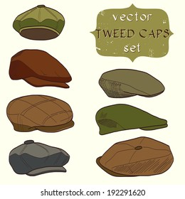 eca90cc4f87 Set of hand drawn men s tweed caps. Fashionable cartoon hats.