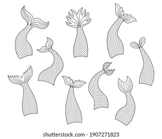 Set of hand drawn mermaid tails in doodle style isolated on white background. Black and white vector outline illustration for print design or coloring books.