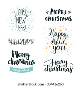 Set of hand drawn Merry christmas and Happy new year lettering. Winter decoration elements for design greeting cards, photo overlays, invitations and more