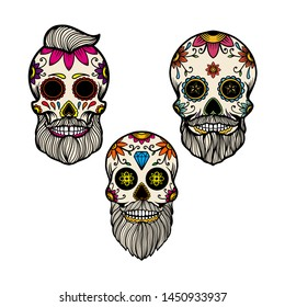 Set of hand drawn mexican bearded sugar skull isolated on white background. Design element for poster, card, banner, t shirt, emblem, sign. Vector illustration