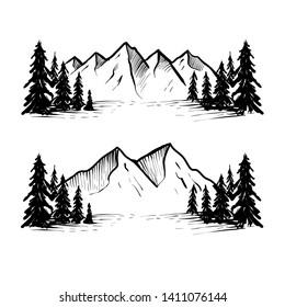 set hand drawn mountain illustrations. Design element for poster, card, emblem, sign banner. Vector image - Vector