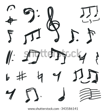 Set Hand Drawn Music Notes Symbols Stock Vektorgrafik Lizenzfrei