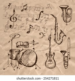 Set of hand drawn musical instrument icons on crumpled kraft paper texture. Vector illustration.
