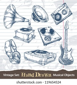 Set of hand drawn musical objects. Layered. Vector EPS 10 illustration.