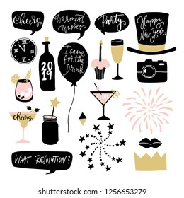 Set of hand drawn New Year or birthday graphic elements. Speech bubles, balloons, fireworks, cocktail drinks and decorations. Photo booth props. Isolated vector objects.