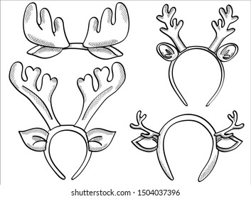 Set hand drawn New Year deer horns and Xmas dear rim. Vector illustration for greeting cards, posters, stickers and seasonal design. Isolated on white background