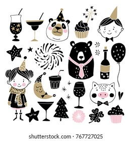 Set of hand drawn New Year or birthday graphic elements. Childrens with party hats, cute bears, pig fireworks, drinks, and decorations. Scandinavian kids design. Photo booth props. Isolated vectors.
