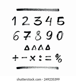 Set of hand drawn numbers