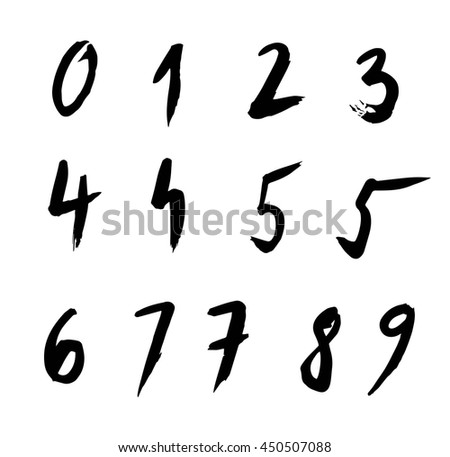 set of hand drawn numbers, brush free strokes.