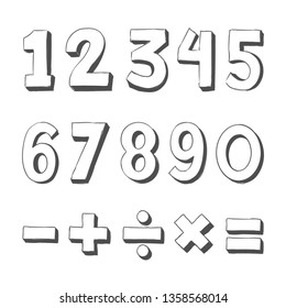 Set of hand drawn numbers. Funny doodle three-dimensional contour math signs. Number doodles - Vector