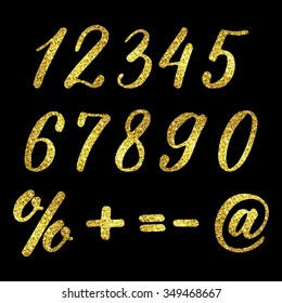 Set of hand drawn numbers and symbols with golden glitter effect, figures isolated on black background. Vector illustration.