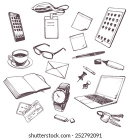 Set of hand drawn objects for business people. Vectorial isolated elements.