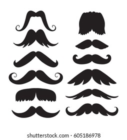 Set of hand drawn old fashion mustaches. Black contour artistic drawing. Actual hipster vector. Male barber shop illustration