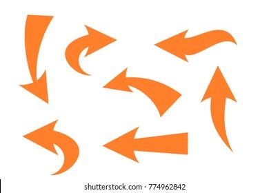 Set of hand drawn Orange arrow