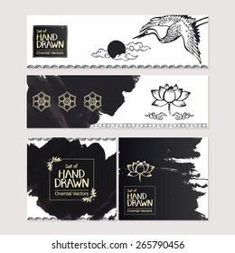 Set of hand drawn oriental banners. Vintage frame, oriental decorations. Vector illustration.