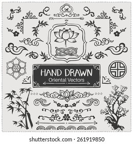 Set of hand drawn oriental brushes. Vintage frame, oriental decorations. Vector illustration.