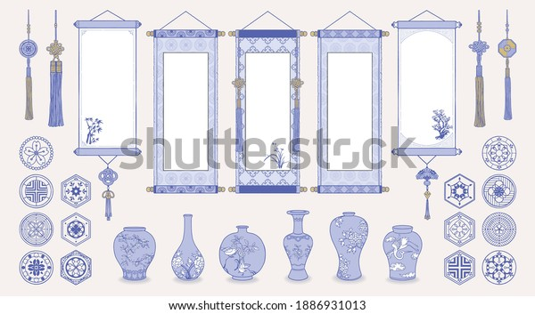 Set of hand drawn oriental elements. Asian hanging scrolls, Ceramic vases, Traditional patterns, Oriental decorations. Vector illustrations.