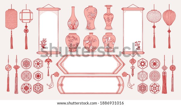Set of hand drawn oriental elements. Asian hanging scrolls and lanterns. Ceramic vases, Traditional patterns, Oriental decorations. Vector illustrations.