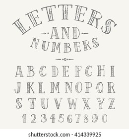 Set of hand drawn ornate letters alphabet. English uppercase serif font and numbers.