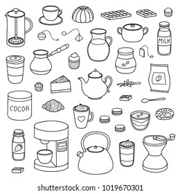 Set of hand drawn outline coffee, tea and cocoa items isolated on white background.
