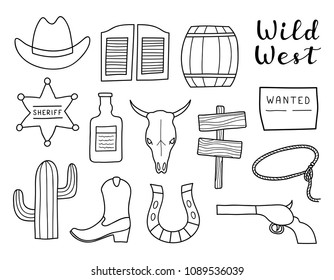 Set of hand drawn outline Wild West elements isolated on white background.