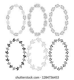 Set of hand drawn oval wreaths with ink texture. Wedding flourish design. Vector isolated illustration. Summer style.