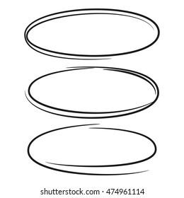 set hand drawn ovals, circles